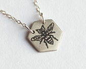 Bee Necklace - Hexagon Necklace - Honeybee Jewelry - Bee Charm - Silver Bee Necklace - Honeybee Jewelry