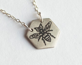 Bee Necklace - Hexagon Necklace - Every Day Pendant - Honeycomb - Honeybee Jewelry - Bee Charm - Silver Bee Necklace - Honeybee Jewelry