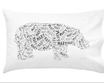 Personalized hippopotamus hippo Pillowcase Room Decor Jungle
