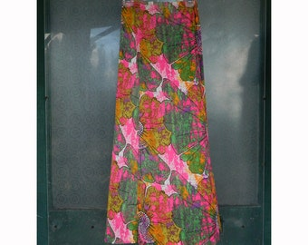 Vintage Mod Maxi Skirt Large Bright Floral Nylon Size S/M