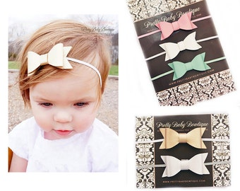 SALE Leather Bow Headband Set- Set of 5 Bow Headbands - Baby Leather Bow Headbands - Girl Headbands