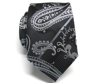 Mens Neckties Black Silver Paisley Mens Ties