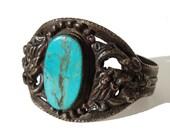 Vintage Tibetan Dragon Cuff Bracelet Silver & Turquoise Nepalese Tribal