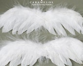 6 Small White Feather Angel wings
