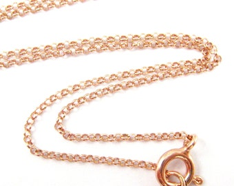 Rose Gold plated Sterling Silver Chain,Extra Long Necklace -1mm Rolo Chain- Rolo Chain Necklace for Pendant- 36 inches (1 pc)-SKU: 601016RG