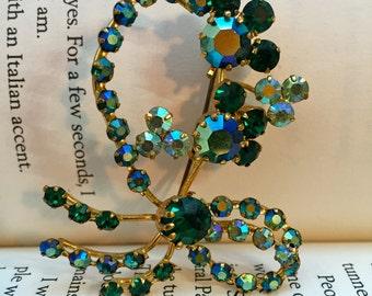 Unusual Vintage Made in Austria Green & Iridescent Rhinestone Brooch Pin