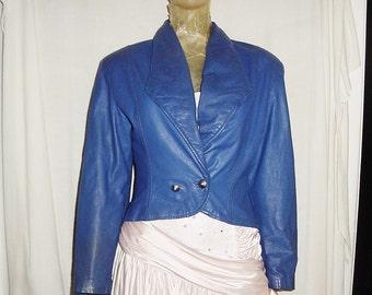 Vintage 80s Blue Leather Ladies Jacket S Peplum Lined Chia Blazer