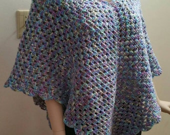 Crochet Boho Poncho in Monet