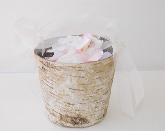 Flower Girl Baskets + Birch Flower Girl Basket with Ribbon Handle - ON SALE