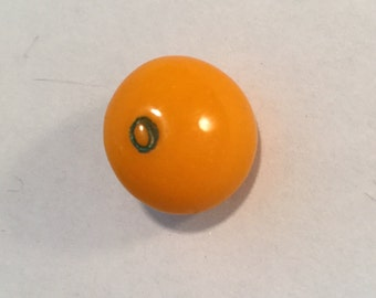 Vintage Glass  Button - Hand Painted Orange Fruit