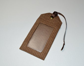 Ready to Ship One Brown Linen luggage tag