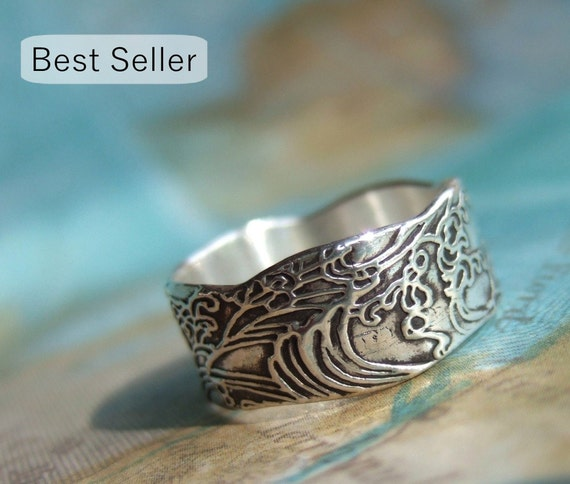 Nautical Gift, Nautical Silver Ring, Ocean Waves Jewelry Gift for Women and Men, Nautical Jewelry Ocean Ring Size 4 5 6 7 8 9 10 11 12 13 14