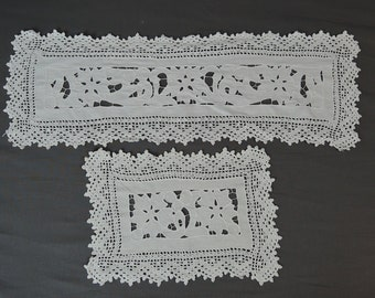2 Vintage Cutwork Linen Doilies with Crochet Lace, 1940s Handmade Linens Doily and Table Runner