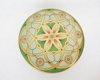 vintage powder tin green aqua gold lotus pattern meister Brazil