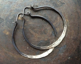 Sterling Silver Hoop Earrings / Silver Hoops / ombre Jewelry / Sterling Hoops / Rustic Jewelry / DanielleRoseBean / Large Hoops