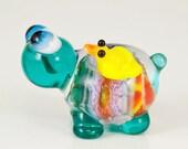 BFF Turtle Yellow Bird Lampwork Glass Bead