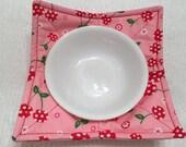RESERVED FOR KR, Microwave Bowl Cozy, Red Cherries, Stocking Stuffer, Teacher Gift, Pot Holder