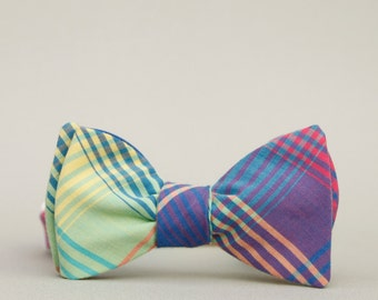 rad plaid bow tie // unisex self tie bow tie // magenta, royal blue, yellow, & moss green