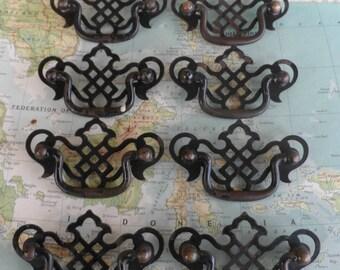 SALE! 8 vintage open design Chippendale metal pull handles*