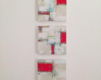 Red Windows.  Original acrylic paintings on panel.