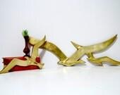 Mid Century Brass Bird Seagull Wall Sculptures - Pair