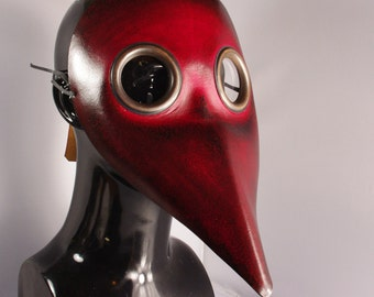 Midi Red Doctor Plague Leather Mask - Costume Party, Halloween