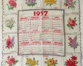 Reserved for Mynda!  VINTAGE HANDKERCHIEF 1957 Calendar Flowers for each Month