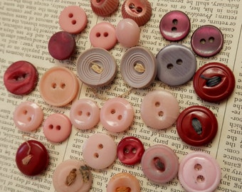 VINTAGE BUTTONS 27 Palest Pink Lavender Mauve Burgundy Nice Group of Small Sizes
