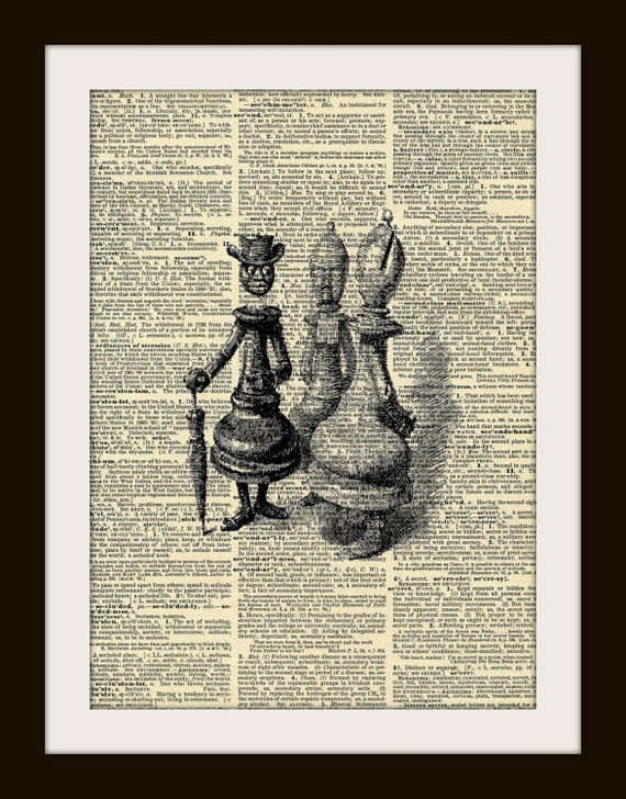 CHESS PIECES Art Print on Vintage Dictionary Page 8x10