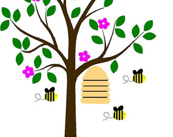 Honey Bee Tree With Hive Vinyl Decals, Kids Wall Decals, Unisex Decor for baby Nursery, Choose Your Colors, Bee Decals,