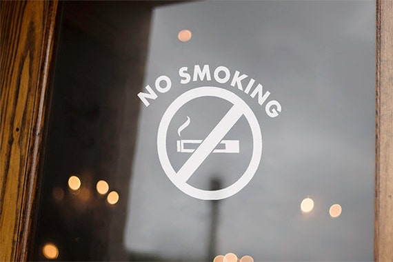 No Smoking Sign No Smoking Stickers Office Door Decal Sign Business window decals (Set of 10 Decals) 6x6