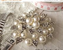 50% OFF Rhinestone Brooch,  Pearl brooch, rhinestone and pearl brooch, crystal and pearl brooch