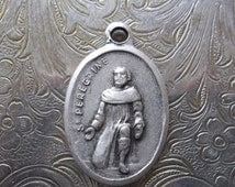 CLEARANCE Saint  Peregrine Italian Silver Catholic Medal Patron Saint Of Those Suffering From Cancer, With Mater Dolorosa Sorrowful Mother M
