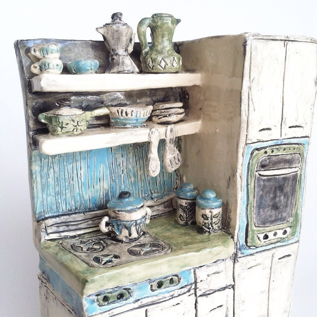 Kitchen Diorama Made Of Cereal Box: Mid Century Modern Kitchen Ceramic Miniature Diorama Art