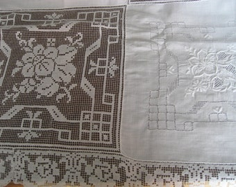 VINTAGE White Cut Work & Embroidered Flower Linen Table Cloth and 8 Napkins  B