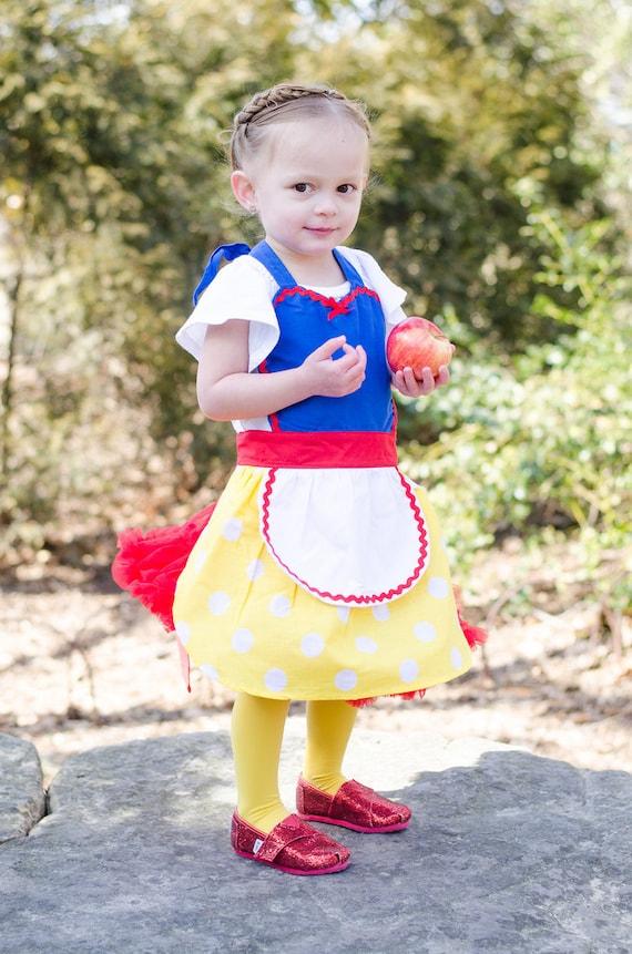 Snow White apron  for children Snow White inspired Princess girls full apron birthday kids gift
