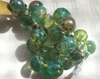 10 Vintage Aqua Teardrop Handmade Lampwork Beads - 11mm (TD 238)