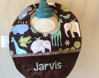 Baby Bib- Personalized-Boy- Bib-Zoo-Animals-Brown-Blue-MInky Dot-Savvy Baby Goodies-Terry-Feeding-Modern-Cotton-Gifts