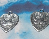 Sterling Silver Ox Plated Brass Heart And Bird Charms Pendants 249SOX x2