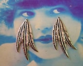 Sterling Silver Ox Plated  Brass Leaf Stampings Charms 640SOX x2