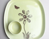 squarish serving platter with a small dipping bowl, set