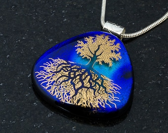 Fused Glass Pendant by BluDragonfly SRA - Tree of Life - Gold Metallic