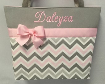 CHEVRON  in Zoom Zoom ... Baby Pink Gray   .. .. Tote  ... Monogrammed  FReE