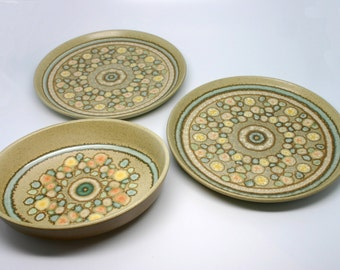 Vtg Earthenware Franciscan Reflections 1 Oval Serving Dish and 2 Dinner Plates