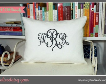 calicodaisy gems - Monogrammed Pillow Cover - Choice of Colors