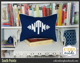 South Pointe Applique Monogrammed Pillow Cover - 12 x 16  lumbar