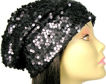 Black Sequin Slouchy Beanie Hat  Lined Sequin Hat Glam Sequin Beret Hat for Hair Loss Flapper Slouchy Hat Sequin Beanie Chemo Hat Slouch Hat