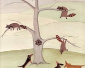 Dachshunds (doxies) find a tree full of raccoons / Lynch signed folk art print
