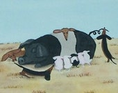 Dachshund (doxie) pups make friends with Mrs. Pig in barnyard / Lynch signed folk art print