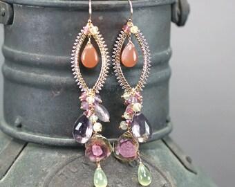 Watermelon Tourmaline , Ametrine, Rose Quartz, Peach Moonstone, Prehnite chandelier earrings, 14k gold filled Hooks ... JILL Earrings